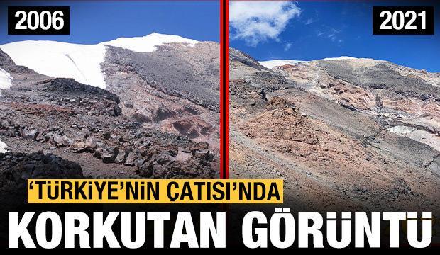 Ağrı Dağı'nda korkutan görüntü! 'Türkiye'nin çatısı' eriyor