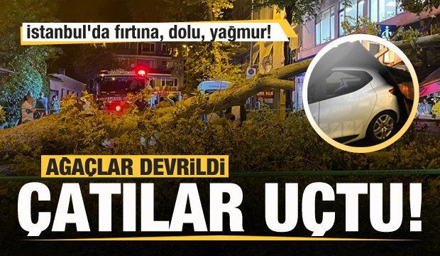 İstanbul'da fırtına, dolu, yağmur! Çatılar uçtu ağaçlar devrildi