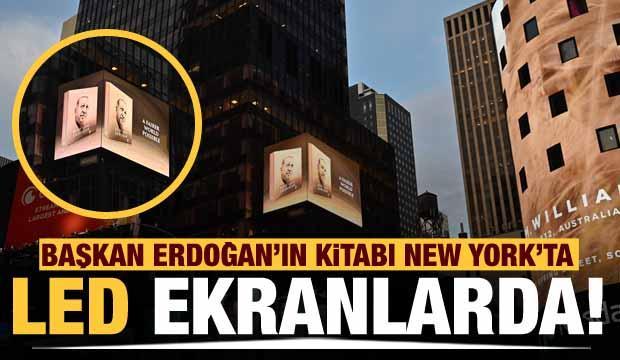 """Erdoğan'ın """"Daha Adil Bir Dünya Mümkün"""" kitabı New York'ta led ekranlarda tanıtıldı"""
