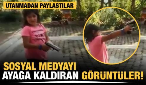 Küçük kıza zorla ateş ettirdi vurulma tehlikesi atlattı