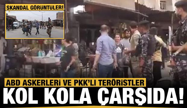 Amerikan askerleri PKK'lı teröristlerle kol kola çarşıda dolaştı!