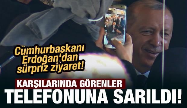 Cumhurbaşkanı Erdoğan'dan sürpriz kafe ziyareti! Görenler telefonuna sarıldı...