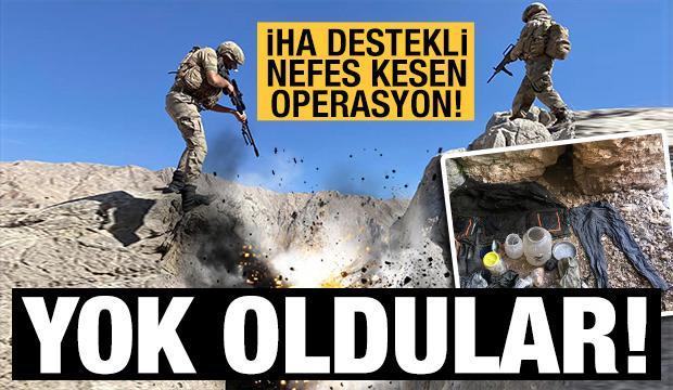 Erzincan kırsalında teröristlerce kullanılan 12 mağara, sığınak ve depo imha edildi