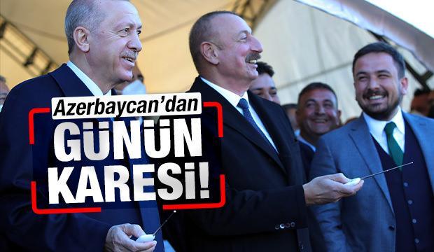 Cumhurbaşkanı Erdoğan'a Aliyev'den sıcak karşılama