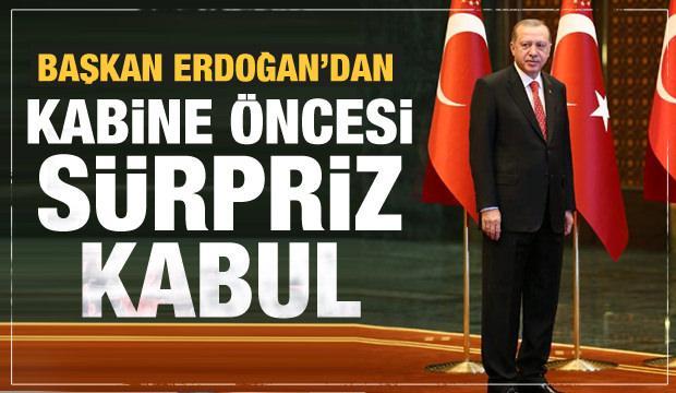 Cumhurbaşkanı Erdoğan'dan Kabine öncesi Külliye'de sürpriz kabul