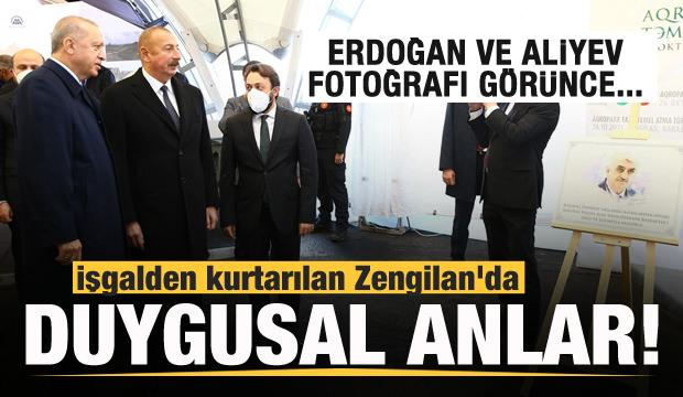 Zengilan'da duygusal anlar! Erdoğan ve Aliyev Özdemir Bayraktar'ın fotoğrafını görünce...