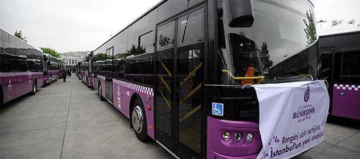 Erguvan otobüsler hizmet için hazır