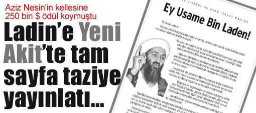 Yeni Akit'te Ladin'e taziye ilanı